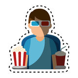 Person watching 3d movies Stock Photo