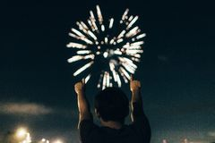 Person Watching Fireworks Stock Images