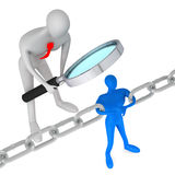 Person watching man who holding a chain together. 3d person watching 3d man holding a chain together Royalty Free Stock Photography