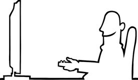 Person watching television. Black line art illustration of a man sitting in a chair watching television with a remote control in his hand Royalty Free Stock Images