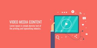 Video content marketing, social media sharing, digital media, communication, online marketing concept. Flat design vector banner. Person watching video content royalty free illustration
