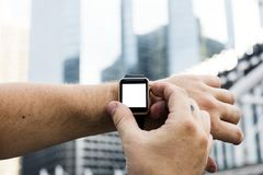 Person Wearing Apple Watch Stock Image