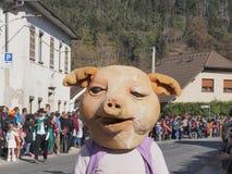 Big head pig costume stock photo