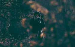 Person Wearing Black Hoodie in the Forest Stock Images