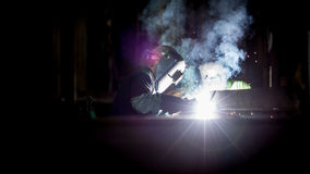 Person Wearing Black Welding Mask Stock Image