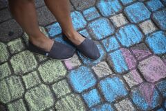 Person Wearing Blue Flat Shoes Royalty Free Stock Photography