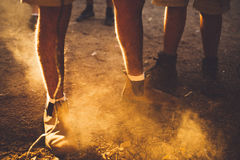 Person Wearing Brown Boots and White Socks Standing on Dirt Dusty Ground Stock Photos