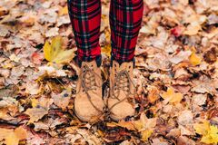Person Wearing Brown Timberland Work Boots Royalty Free Stock Photography