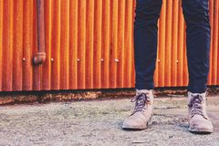 Person Wearing Brown Working Boots Royalty Free Stock Image