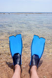 Person wearing fins lying at the edge of the sea Stock Photography