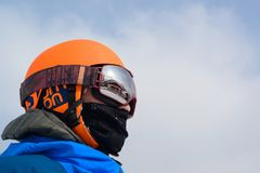 Person Wearing Orange Helmet Royalty Free Stock Photography