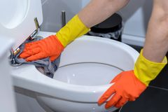 Woman in orange gloves cleaning the toilet Stock Photo