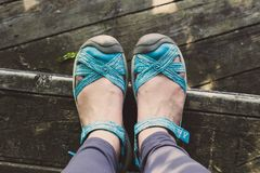 Person Wearing Pair of Blue Leather Sandals stock images