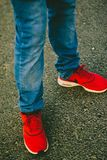 Person Wearing Red Nike Running Shoes Stock Photo