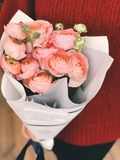 Person Wearing Red Sweater and Black Pants Holding Bouquet of Pink Flowers stock images