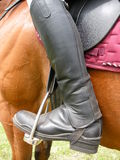 Person wearing riding boots. Closeup of horse rider wearing black jackboot style jodhpurs Royalty Free Stock Photo
