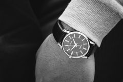 Person Wearing Round Silver Analog Watch With Black Leather Strap Royalty Free Stock Photo