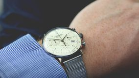 Person Wearing Silver-colored Analog Watch Stock Images
