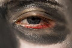 Person wearing skull makeup. Close up of the eye of a person wearing skull makeup for Halloween wirh a darkened eye socket and red rim around the eye Stock Photos