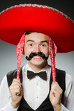 The person wearing sombrero hat in funny concept. Person wearing sombrero hat in funny concept Stock Image