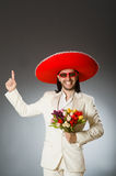 Person wearing sombrero hat in funny concept Royalty Free Stock Photography