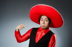 Person wearing sombrero hat in funny concept Stock Images