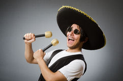 Person wearing sombrero hat in funny concept Royalty Free Stock Image