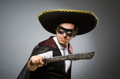 Person wearing sombrero hat in funny concept Royalty Free Stock Photo