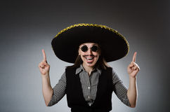 Person wearing sombrero hat in funny concept Royalty Free Stock Photos