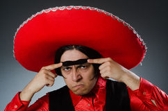The person wearing sombrero hat in funny concept Stock Images