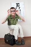 Person wearing spectacles Royalty Free Stock Photography