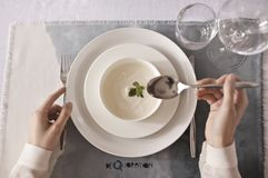 Person Wearing White Dress Shirt Holding Spoon Stock Images