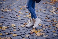 Person Wearing White Work Boots Royalty Free Stock Photo