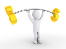 Person is weight lifting dollars Stock Photography