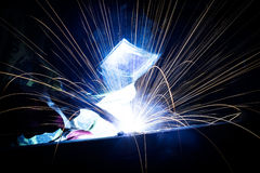 Person welding steel Royalty Free Stock Photos