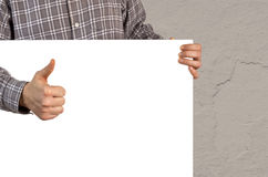 Person with white blank board Royalty Free Stock Photo