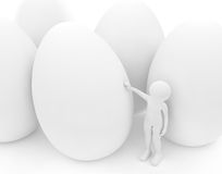 Person and white eggs Royalty Free Stock Images