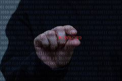A person, white hand stealing password, black background, ones and zeros. A hand is trying to steal a password from zeros and ones representing digital royalty free stock images