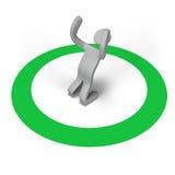 Person Who Is Glad On una marca del círculo Imágenes de archivo libres de regalías