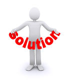 Person who holds the word solution. Person who holds in hands the word solution stock photography