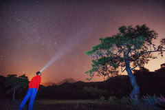 Person who is looking at the starry sky Stock Image