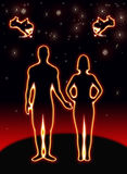 The person who love each other. Person who love each other on the earth, under the black background Stock Photos