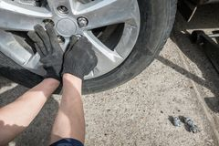The person who regulates the wheel on the car stock image