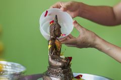 Bathing rite for Buddha image on Songkran Festival. Person who takes bathing rite for Buddha image by scented water include with many kinds of flower such as royalty free stock images