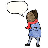 Person in winter clothes cartoon Royalty Free Stock Image