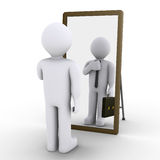 Person wishes employment. 3d person looking at mirror and sees himself as businessman Royalty Free Stock Photo