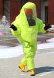 Person With A Protective Suit Against Chemical And Bacteriologic Stock Photo