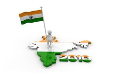 Person With Indian Flag And Map Royalty Free Stock Image