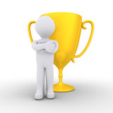 Person won the golden cup Royalty Free Stock Image
