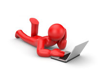 Person work or relax on laptop Stock Photo